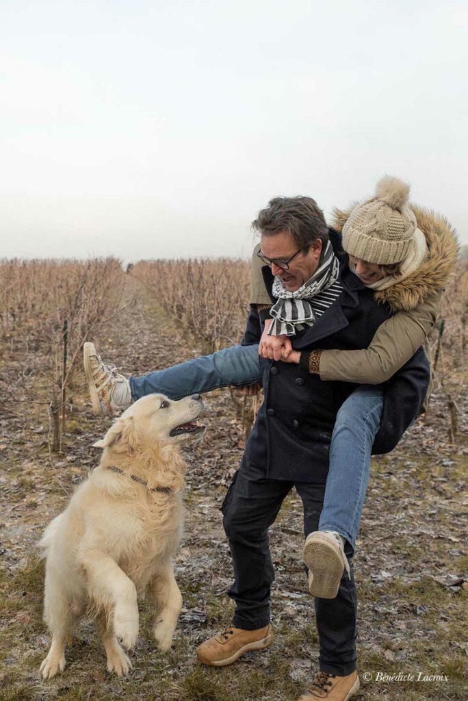 clisson vignes couple et chien